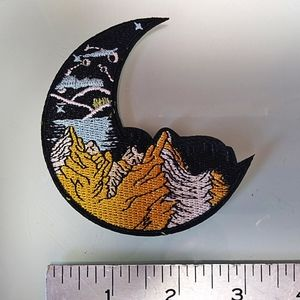 Large Crescent Mountain Moon Iron - Sew on Patch